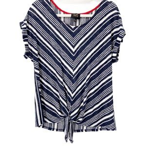 W5 Horizontal Striped tie knot front top
